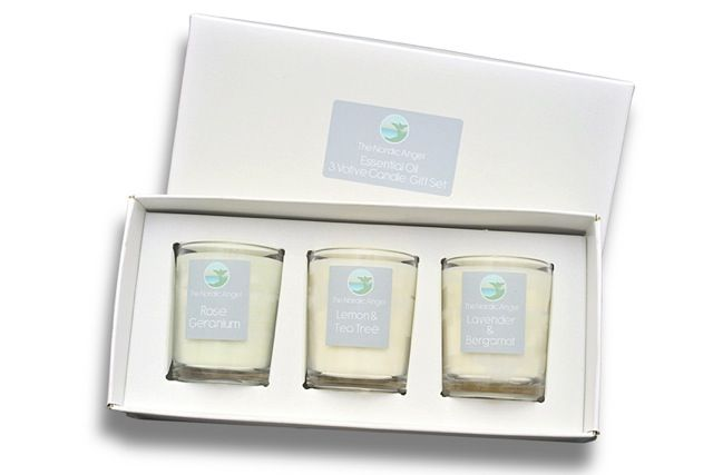 Essential oil natural paraffin free votive gift set. Each votive offers 20h burntime and has been produced using recycled glass. £15 per gift box.