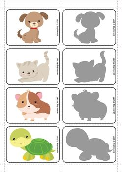 Pets Preschool and Kindergarten Centers. Match the pets to their shadows.