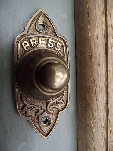 Traditional Victorian Old Style Brass Door Bell--I love this door bell.