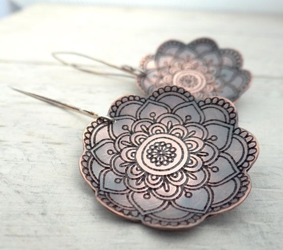 Larger Blooming Copper Earrings by Lost Sparrow Jewelry