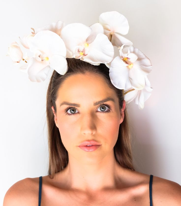 Mint and Melon Silk Flower Crowns  Spring Races Orchid Flower Headpiece