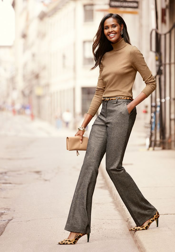 Fall's most fashionable pant: slightly above the waist, wide-leg trouser in an irresistible Donegal herringbone.