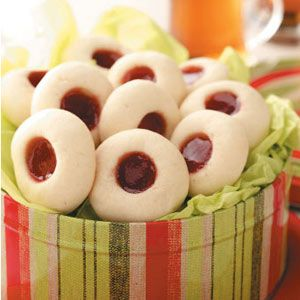 Strawberry Cream Thumbprint Cookies. These cookies are little bites of heaven and super easy to make! I even switch up the jellies for variety.