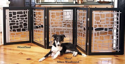 An extra wide pet gate that isn't ugly or flimsy.