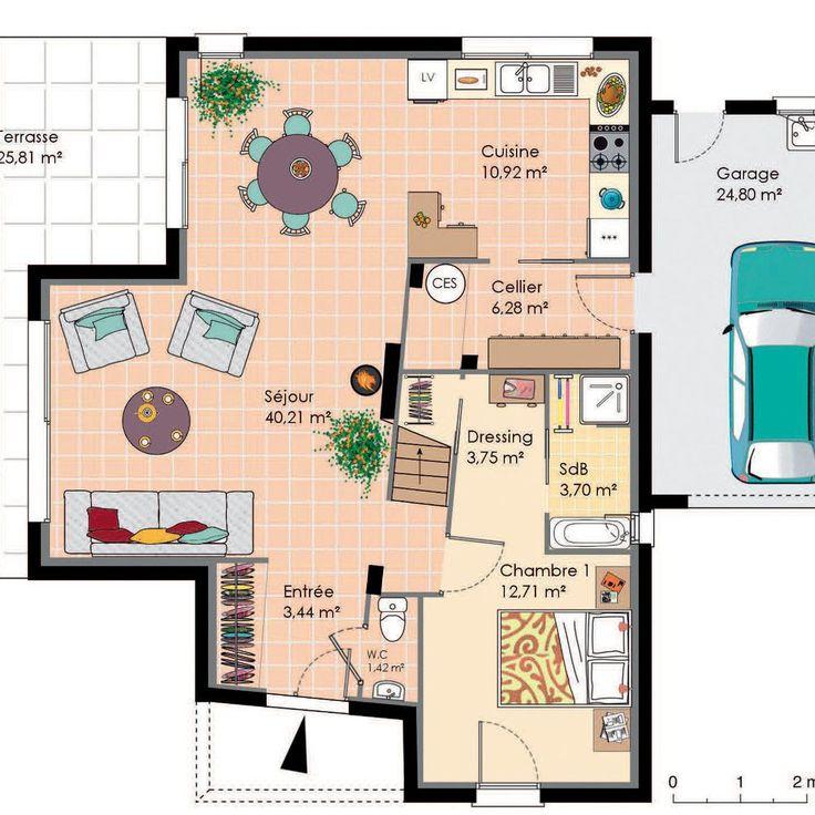62 best maison images on Pinterest - Plan Maison Moderne  Chambres