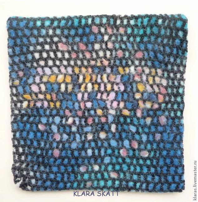 Приветствую всех , кто заглянул на мой МК по мокрому валянию N 4! Сегодня я не собиралась писать о мозаике, в планах было рассказать о другой технике,но случайно оказавшиеся на моем столе 2 вещи, сетчатый пуловер и валяные шарики соединились в моей голове одно и получилось то , чем я сейчас и спешу поделиться ... Мой предыдущий МК ,под названием « Валяная ниткография», можноувидеть здесь http://www.livemaster.