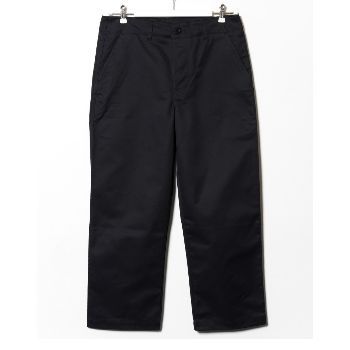 OTHER/man  Black Felix Trouser : Black cotton twill work trouser by OTHER/man  -Limited Edition of 25 -Straight wide leg trouser -Button/fly closure with belt loops at waist -Real horn button fastenings -Slightly cropped length -Two slant front pockets and two rear patch pockets -Made in England