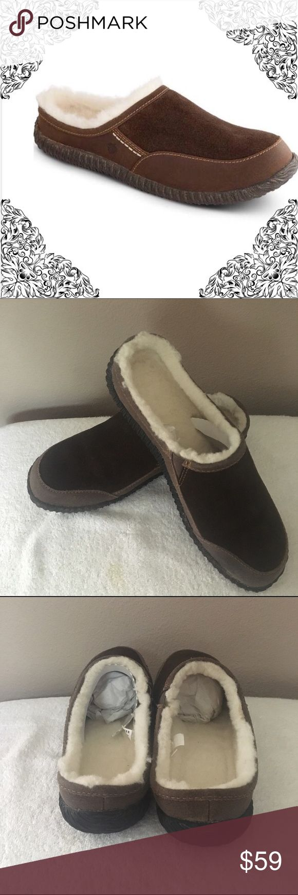 Acorn Men's Shoes Brand new chocolate color. Soft suede upper with two-tone coloring. Slip-on design. Naturally breathable shearling lining and a shearling-covered insole. Size 11 Acorn Shoes Loafers & Slip-Ons
