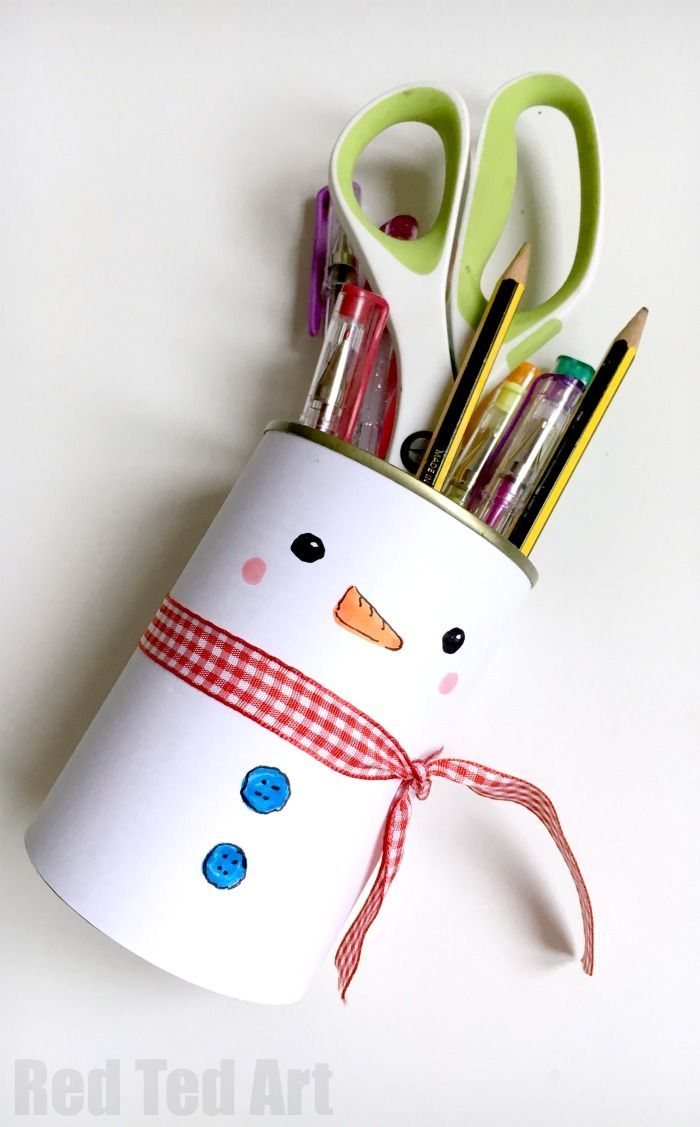 Snowman Pencil Holder Easy Crafts For Kids Winter Crafts For Kids Paper Crafts For Kids