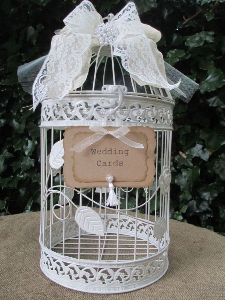 Round Metal Vintage Style Birdcage Wedding Card Holder Post Box Decorated With A Ribbon Lace Bow
