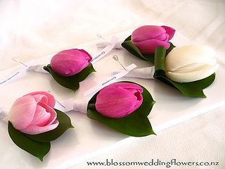 pink-tulip-buttonholes by Blossom Wedding Flowers