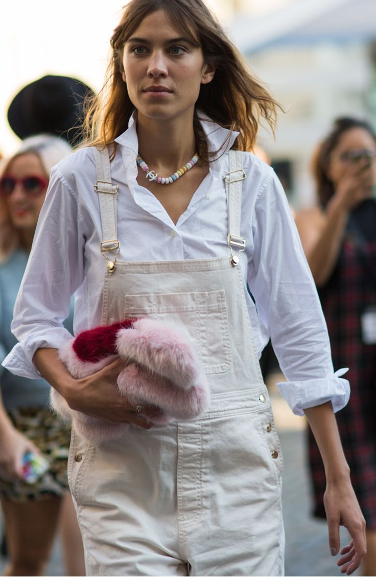 Dressed-up white overalls + a bold, furry bag: Alexa Chung and more street style at London Fashion Week