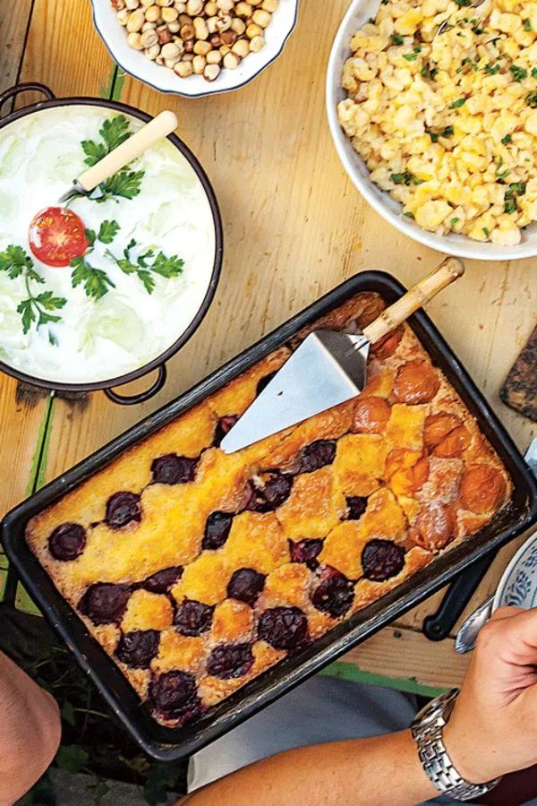 A slight tang from yogurt balances this sweet, easy summer cake. White the recipe calls for plums, any stone fruit—apricots, peaches, nectarines—will work.