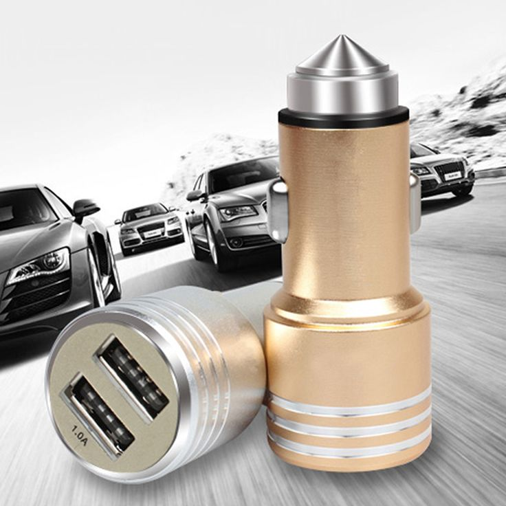 3 in 1 Emergency Mini Safety Hammer Car Window Glass Breaker + 2.5A Dual USB Port Car Charger + Cigarette Lighter E#A
