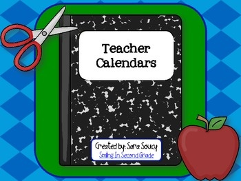 Monthly Teacher Calendars - blank calendars for teachers or students!