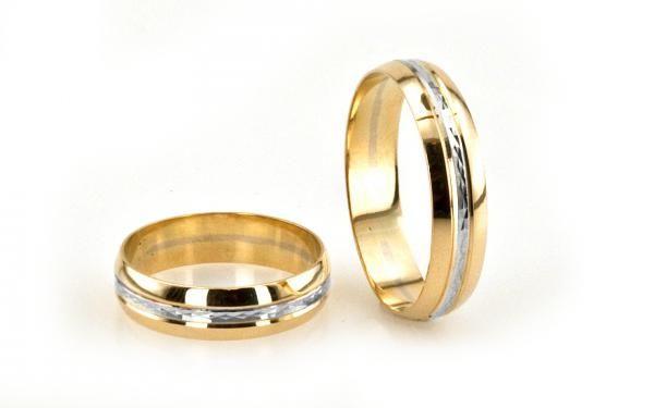 Zlaté svadobné obrúčky v kombinácii žlté a biele zlato-zoblené