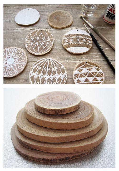 painted or wood burned wood slices