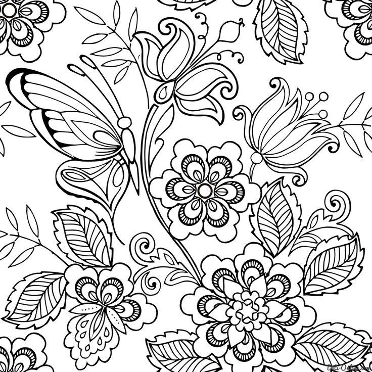 Раскраска Антистресс Бабочки и цветы | Раскраски, Рисунки ...