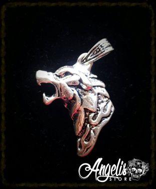 Tribal Wolf Head Pendant