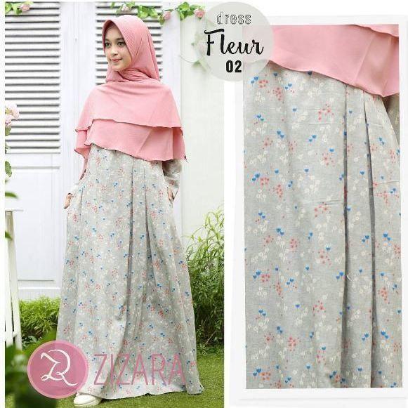 Gamis Zizara Fleur Dress 02 Baju Muslim Wanita Baju