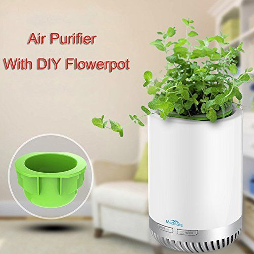 Madoats Portable Air Purifier Quiet Desktop Air Cleaning System True HEPA Filter USB Fresh Air Cleaner,with Mini DIY Flowerpot (SLIVER)