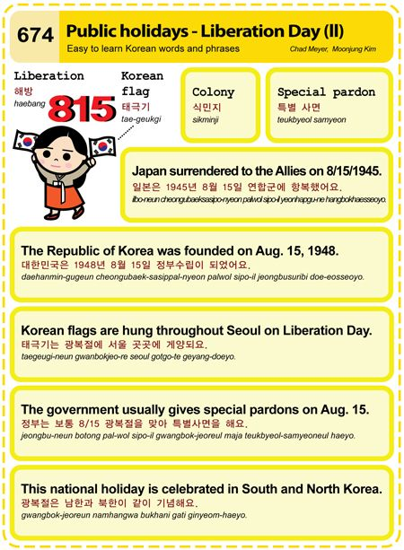 674 Easy to Learn Korean: Public holidays ― Liberation Day (II)