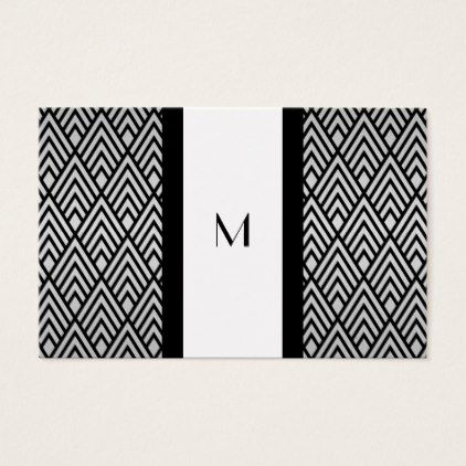 Black and White Deco Monogram Reg Size Business Card - monogram gifts unique custom diy personalize