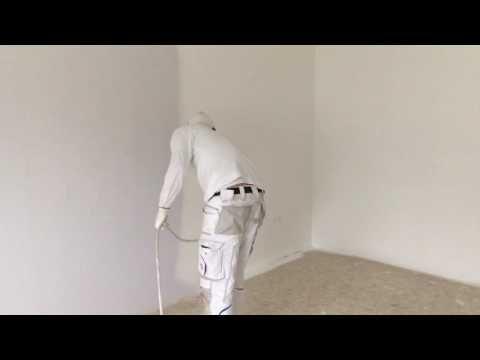 Ein Zimmer in 6:35min streichen. So gehts! Airless Farbe spritzen. Rauhfaser streichen. - YouTube