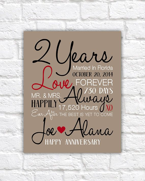 2 Year Anniversary Gifts, 2nd Anniversary, Celebrating Second Year ...