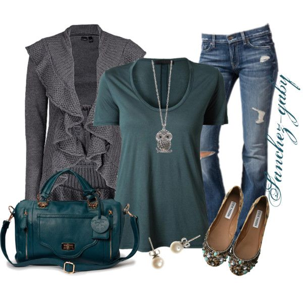 A fashion look from January 2013 featuring blue t shirt, tie front top and blue crossbody purse. Browse and shop related looks.