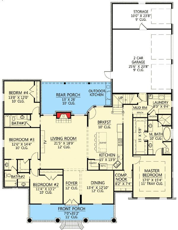 This floor plan is wonderful. Would be gorgeous with a wrap porch!