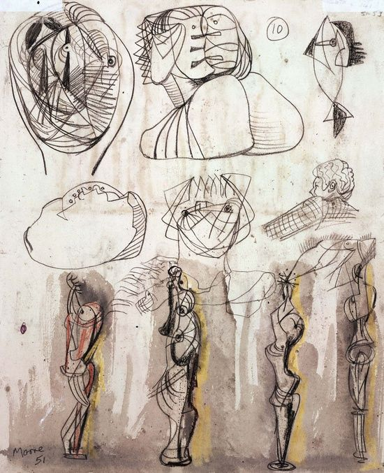 Henry Moore – Heads, Fish and Standing Figure, 1950-51; Pencil and watercolour on paper