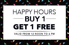 Now Buy 1 Get 1 Free with #Jabong Happy Hour Sale. This happy hours sale is valid till 6 PM so don't miss this special jabong #sale. Jabong discounted sale