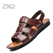US $15.50 2017 England S Cow Leather Men Sandals Black Brown Hand Sewing Men Summer Shoes Breathable Beach Shoes Summer Men Shoes. Aliexpress product