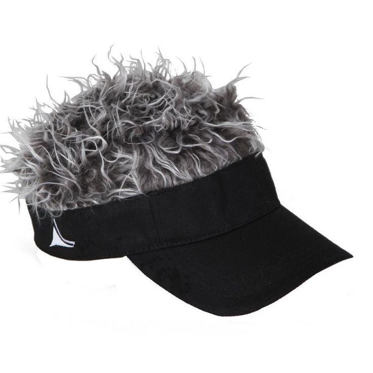 Flair Hair Visor Hat Golf Gray Grey Wig Cap Spike Goof ...