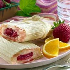 Strawberry Tamales Ingredients 30 corn husks  2-1/2 cup strawberries, sliced into 1/2-inch pieces (about 1 lb.)  1 cup sugar, divided  1/2 cup PLUS 2 Tbsp. Country Crock® Spread  1/2 tsp. baking powder  3 cup masa harina for tamales  1-1/4 cup milk, slightly more or less