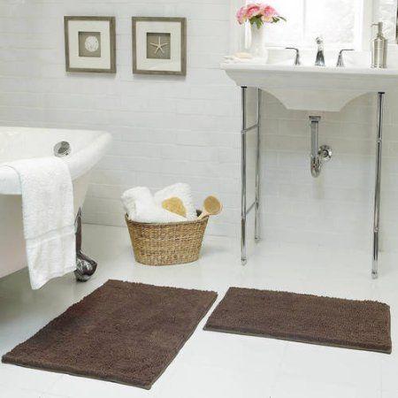 Bounce Comfort Chenille Plush Shag Bath Mat, Set of 2, Brown
