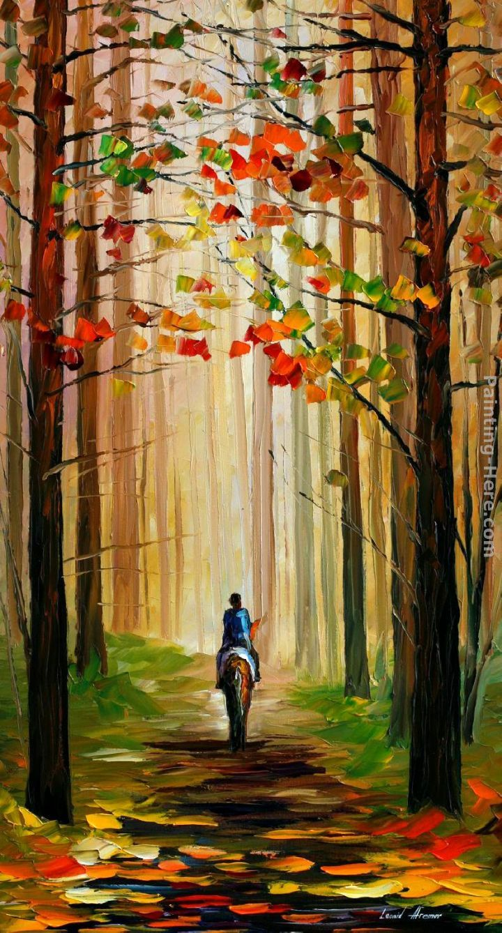 Autumn Stroll On A Horse    Leonid Afremov