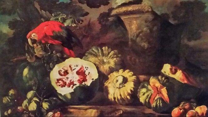 MICHELANGELO PACE called MICHELANGELO DA CAMPIDOGLIO ( Roma 1610 - 1670 ). NATURA MORTA DI COCOMERO, ZUCCHE ED ALTRA FRUTTA, CON LUCERTOLA, PAPPAGALLO ED URNA. olio su tela. 122,5 × 171 cm.