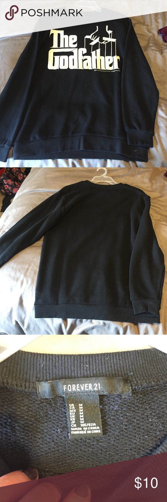 "Forever 21 crew neck sweater Black crew neck sweater with ""The Godfather"" logo on front. Forever 21 Sweaters Crew & Scoop Necks"