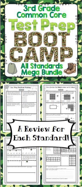 Math Test Prep: 3rd Grade (Boot Camp Theme) - Help your students get ready for testing with this boot camp themed pack! It is aligned to the 3rd grade Common Core Standards. $
