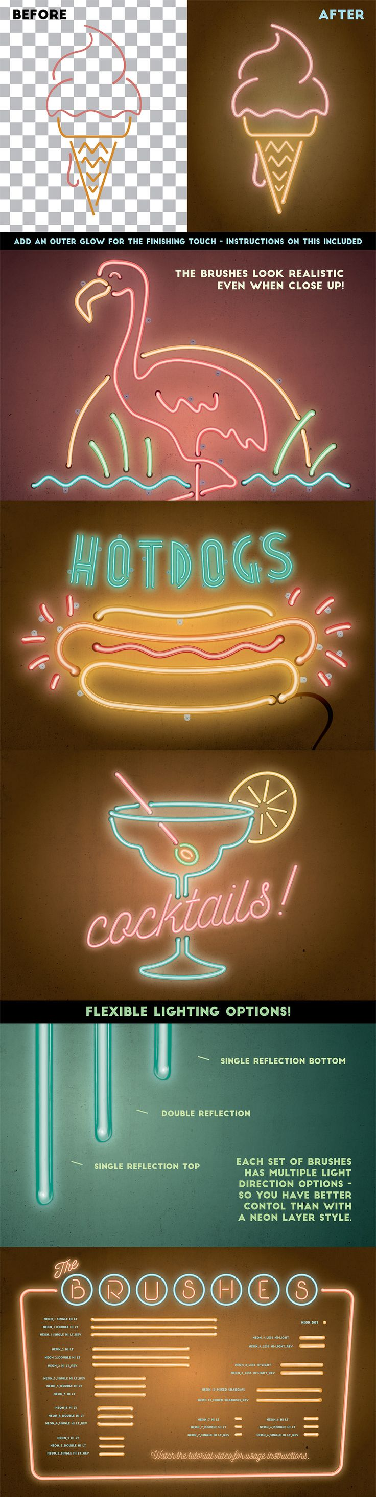 Neon Realistic Brush Set -- https://www.designcuts.com/product/neon-realistic-brush-set/