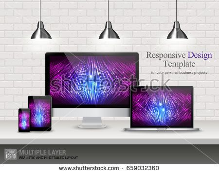 Realistic Computer, Laptop, Tablet and Mobile Phone with Technology Wallpaper Screen Isolated on Vintage Brick Wall. Set of Device Mockup Separate Groups and Layers. Easily Editable Vector.