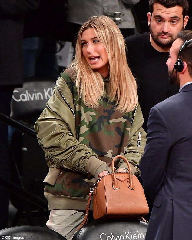 """Work utility chic in Hailey's Topshop bomber jacket  Click """"Visit"""" to buy #DailyMail"""