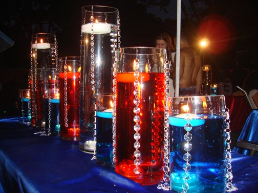 Rent patriotic floating candle centerpieces includes