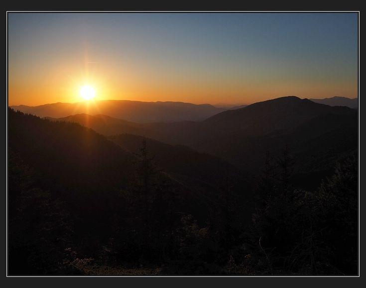 západ slunce za hřeben Lúčanské Malé Fatry