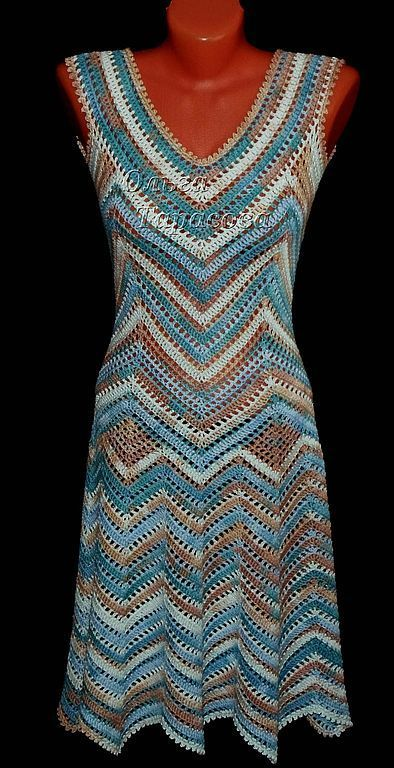 Beautiful crocheted chevron dress. Love the neckline. ***in Russian(?) May be a pattern to purchase