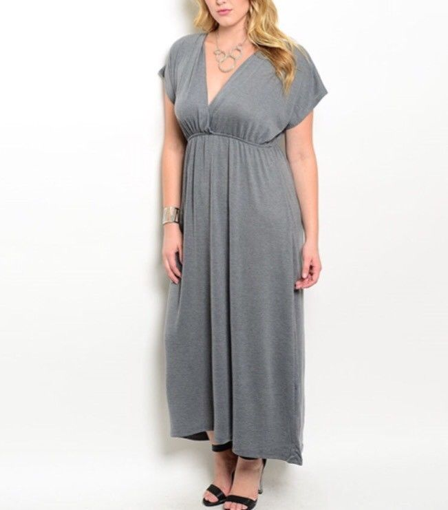 New Gray Maxi Dress Plus Size 1xl Ebay Splabel Co Clothing In