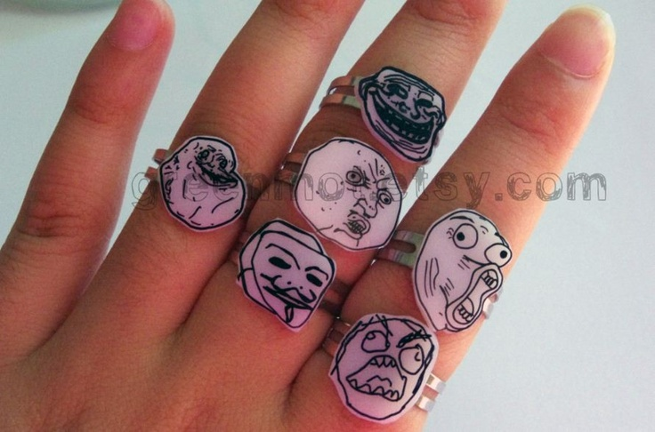 The Ultimate Internet Meme Set - FUUU, Forever Alone, Troll Face,Epic fail guy, LOL face and Y U NO face. $26.50, via Etsy.