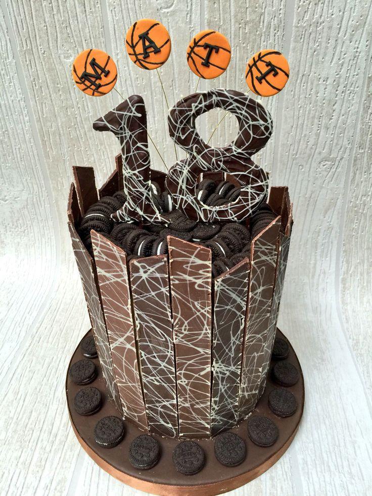 Chocolate shard cake with Oreo decoration and basketball name burst
